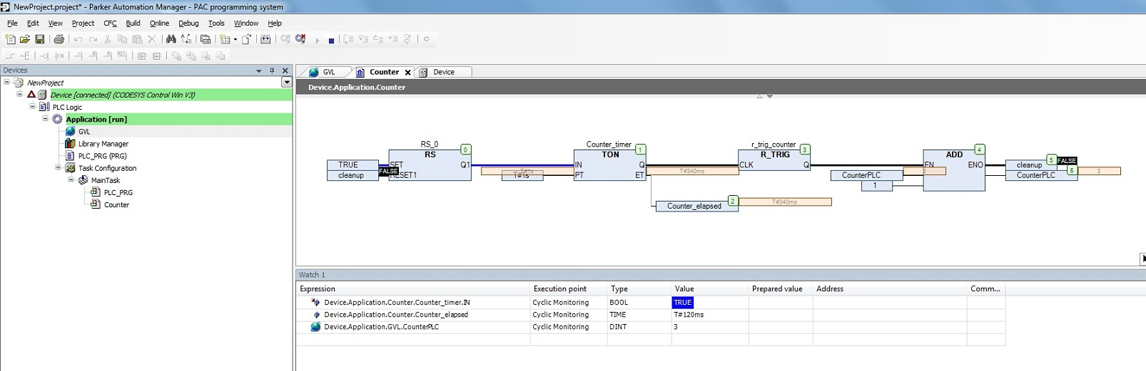 Sample Cfc Program Time Based Counter Electromechanical Knowledge Plc Ladder Simulation