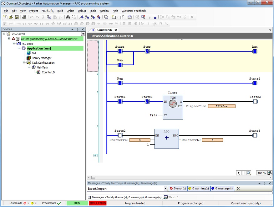 Sample Ladder Logic LD Program: time based counter ...