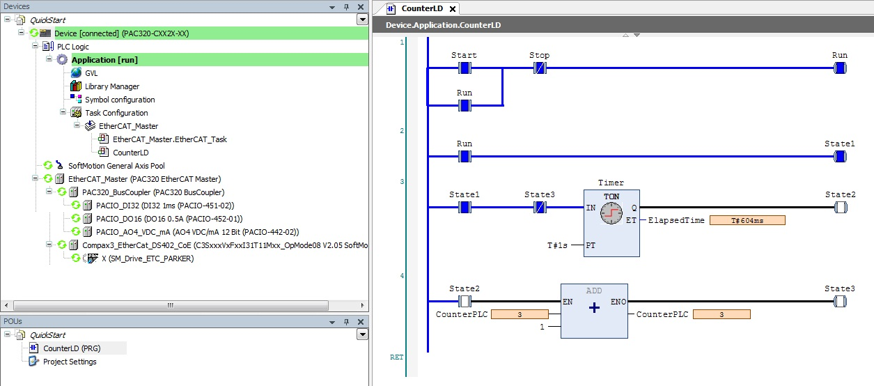 Sample ladder logic ld program time based counter note this includes a global variable list gvl that has the counterplc variable double integer dint type with it in the gvl this will be available to ccuart Images