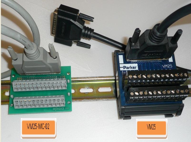DIN Rail Parker VM25 Breakout Board Module 25-Pin D-Sub Female Screw Terminals